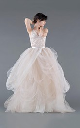 Tulle Lace Organza Weddig Dress With Button Zipper