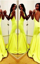 Sexy Backless Yellow Mermaid Prom Dresses 2018 Sleeveless Spaghetti Straps Evening Gowns