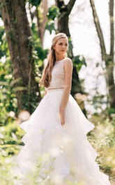 Ball Gown Lace Organza Satin Weddig Dress With Illusion