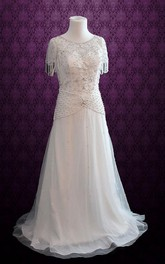 Jewel Dropped Waist Long Chiffon Wedding Dress With Crystal Detailing And Sash