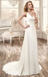 Cap-Sleeve Low-V Neckline chiffon Wedding Dress With Brush Train