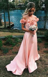 Off-the-shoulder Sweep Train Satin Sleeves Prom Dress with Flowers