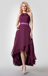 Halter High Low Chiffon Dress Bridesmaid Dress with Sexy Back