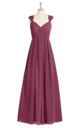 Empire V-Neck Chiffon A-Line Long Dress With Pleats