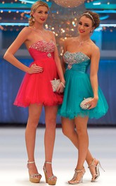A-Line Short Strapless Beaded Tulle Prom Dress With Lace-Up