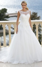Scoop Floor-Length Appliqued Tulle Wedding Dress With Court Train And Illusion
