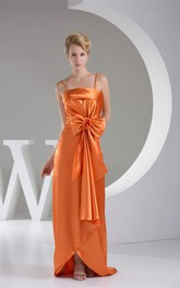 Sleeveless Satin Floor-Length Dress with Spaghetti-Straps and Bow