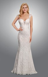 Exquisite Cap Sleeve Lace Long Wedding Dress