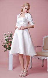 Elegant Strapless Tea Length Satin Maternity Wedding Dress With Removable Jacket