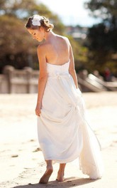 Strapless Backless Long Chiffon Wedding Dress With Sash And Flower