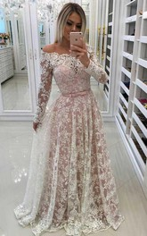 A-line Off-the-shoulder Prom Dress with Lace Appliques Sleeves