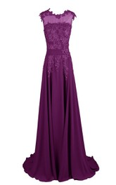 Sleeveless V-neck Chiffon Gown With Embroidered Bodice