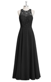 A-Line Chiffon Sleeveless Dress With Lace Bodice and Jewel Neck