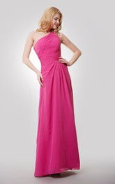One-Shoulder Floor Length A-Line Chiffon Dress With Ruching