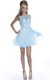 Lace Bodice Tulle Skirt A-Line Mini Prom Dress With Keyhole Back