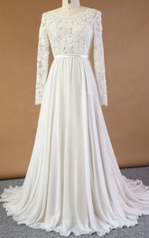 Long Sleeve Chiffon Lace Satin Dress With Appliques Low-V Back