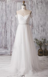 Spaghetti Strap Long A-Line Tulle Wedding Dress With Crisscross Ruching