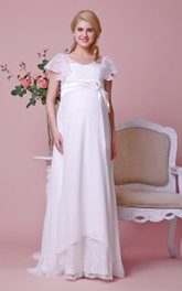 Cap-sleeved Scoop Neck A-line Chiffon Maternity Wedding Dress With Lace Bodice