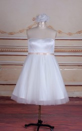 Short Tea-Length Strapped Tulle Satin Dress With Sash Ribbon Button Zipper