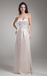 sweetheart a-line floor-length satin dress with jeweled waist