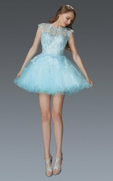 A-Line Short Jewel-Neck Cap-Sleeve Tulle Dress With Appliques And Beading