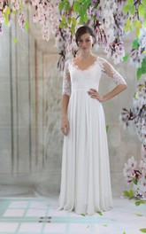 V-Neck Half Sleeve Lace and Chiffon Wedding Dress With Pleats