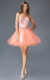 A-Line Short Sweetheart Sleeveless Tulle Satin Corset Back Dress With Beading