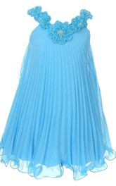 Sleeveless V-neck Pleated Dress With Flowers