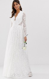 Sexy Lace Sheath Plunging Neckline Keyhole Wedding Dress