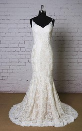 Spaghetti Strap Lace Mermaid Wedding Dress With Champagne Underlay