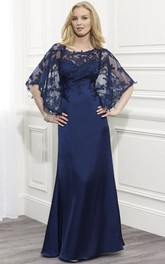 Sheath Scoop-Neck Maxi Appliqued Bat-Sleeve Satin Formal Dress With Cape