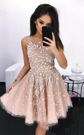 A-line Bateau Sleeveless Beading Flower Pleats Sequins Knee-length Tulle Sequins Homecoming Dress