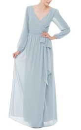 Long Sleeve V-neck Chiffon Long Dress with Bow