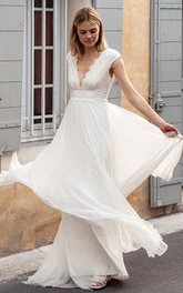 Ethereal Chiffon Lace V-neck A Line Short Sleeve Wedding Dress with Low-V Back