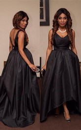 Sexy Black V-Neck Sleeveless Prom Dresses 2018 Hi-Lo Tail Party Gown