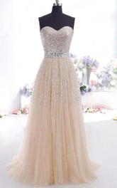 A-line Princess Sweetheart Tulle Sleeveless Floor Length Dress Online