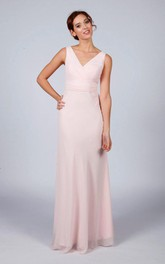 Classic Floor-length Dress With Sash