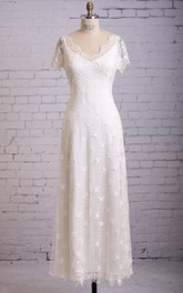 Column Cap-sleeved Lace Dress With Scalloped Edge Neckline