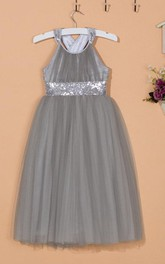 Sleeveless Strapped Back Tulle Dress With Sequins Belt