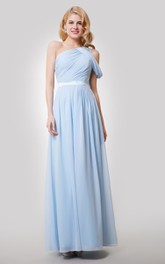 One-Shoulder Ruched Floor Length A-Line Chiffon Dress With Satin Sash