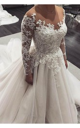 A-Line Vintage Jewel Appliques & Beading Court Train Lace-up Tulle Wedding Dress