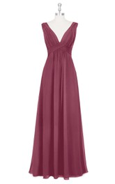 Chiffon Sleeveless Pleated Long Dress With Deep V-Neck
