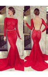 Backless Lace Mermaid Prom Dresses 2018 Bateau High Neck Long Sleeve Sheer Party Gowns With Court Train