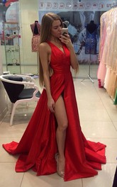 Sexy Red V-neck Long Prom Dress 2018 Sleeveless Front Split
