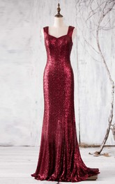 Newest Wine Sequin Bridesmaid Dress