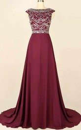 Chapel Train Chiffon&Satin Dress With Beading