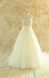 Jewel Cap Deep-V Back Long Tulle Wedding Dress With Sash And Sequins