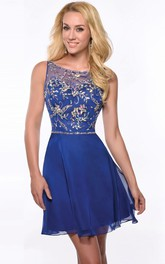 A-Line Chiffon Homecoming Dress With Bateau Neckline And Shining Detailing