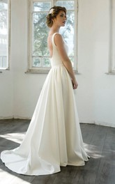 Elegant V-Neck Sleeveless Floor-Length A-Line Satin Wedding Dress