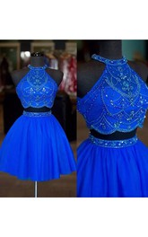 Two Piece Halter High Neck Sleeveless Beading Short Mini Chiffon Homecoming Dress